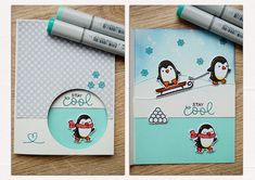 https://flic.kr/p/PiTe6p | Window Card | With all the penguin sets by Lawn Fawn - Toboggan Together, Winter Penguin and Snow Cool (sentiment)