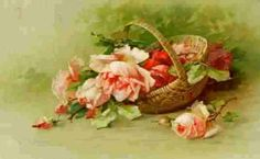 Cesto com rosas, cartão postal.  -