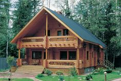 Chalet look--I've never seen a log cabin with this look. Cabins In The Woods, House In The Woods, Bungalow, Villa, Cabin Kits, Log Cabin Homes, Log Cabins, Rustic Cabins, Mountain Homes