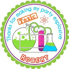 Mad Science Party Personalized Stickers  Party Favor by partyINK, $6.00