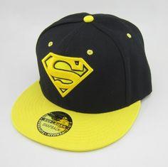 New Black Yellow DC Superman Adjustable Snapback Cap Flat Hat Hiphop  Baseball 0ae2a6035721