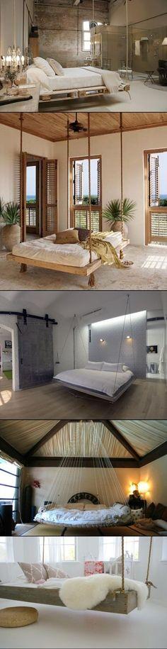 DIY hanging bedroom beds. More