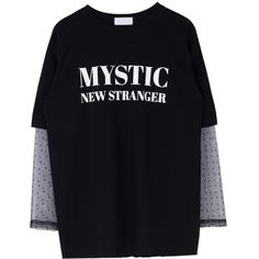 MYSTIC Print Sheer Sleeve Layer T-Shirt (€28) ❤ liked on Polyvore featuring tops, t-shirts, print tees, round neck t shirts, bunny t shirt, sheer t shirt and oversized t shirt