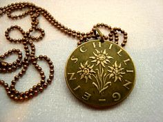 Pendants – Edelweiss Coin Necklace, Austria coin – a unique product by WaterLelieJewellery on DaWanda