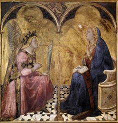 En 1344 l'Annonciation d'Ambrozio Lorenzetti (Voir pl. 22) marque une transition, par l'apparition d'un véritable plan de base permettant de cerner le sol sur lequel se tiennent les personnages