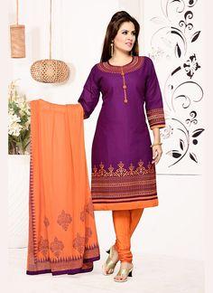 Purple Cotton Designer Salwar Kameez #Salwars #SalwarKameez #SalwarSuits #DesignerSalwarSuits #OnlineSalwarShopping