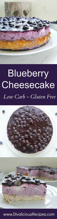 A blueberry cheesecake that is rich and creamy with a jelly blueberry topping. The crust is a delicious low carb crust made with cream cheese but as firm as a biscuit base.