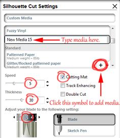 Adding Custom Media Settings + PDF of previous media settings before Silhouette Studio update