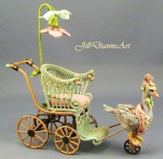 Items similar to Mechanical Antique Style Pink Regency Goose Pram Buggy Stroller - Hand-crafted Jill Dianne Dollhouse Nursery Miniatures on Etsy Fairy Furniture, Miniature Furniture, Dollhouse Furniture, Victorian Dolls, Antique Dolls, Vintage Pink, Baby Kind, Miniture Things, Minis