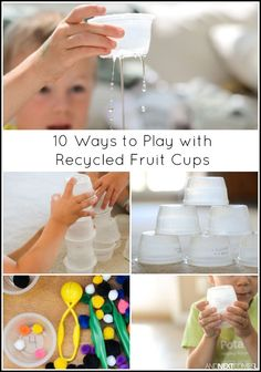 10 ways for kids to play, learn, and craft with plastic, individual serving size applesauce or yogurt cups - simple boredom buster activities for kids Adhd Activities, Educational Activities For Kids, Preschool Activities, Indoor Activities, Summer Activities, Fruit Cups, Yogurt Cups, Plastic Cup Crafts, Recycling For Kids