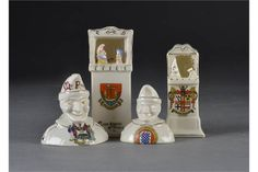 Five crested china Punch and Judy items: comprising a Carlton China Folkstone Punch & Judy booth Punch And Judy, Traditional Toys, The Saleroom, Snow Globes, Auction, China, Dolls, Amp, Baby Dolls