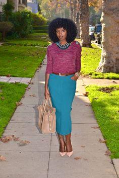 Shoulder Embellished Knit + Midi Pencil Skirt