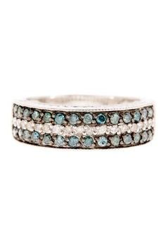 Blue & White Diamond Band! This would look soooo gorgeous next to an aquamarine engagement ring!! Love love love