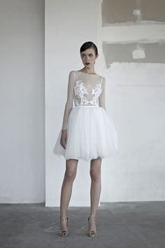 oui the label 2017 bridal long sleeves bateau neck sheer heavily embellished bodice tulle romantic above the knee mini short wedding dress with pockets open v back mv -- OUI The Label 2017 Wedding Dresses Mini Wedding Dresses, Short Wedding Gowns, Wedding Dress With Pockets, Tea Length Wedding Dress, Designer Wedding Dresses, Bridal Dresses, Mermaid Dresses, Marie, Short Dresses