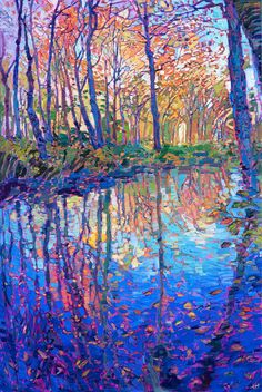 Reflections in Color - Erin Hanson Prints - Buy Contemporary Impressionism Fine Art Prints Artist Direct from The Erin Hanson Gallery Landscape Art, Landscape Paintings, Landscape Lighting, Reflection Art, Erin Hanson, Impressionist Paintings, Impressionist Landscape, Tree Art, Canvas Art