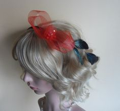 14,-  //  Haarreif schwarz/rot Fascinator  von Cosara auf DaWanda.com