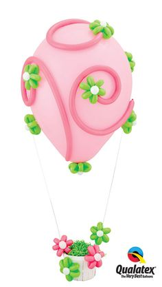 "The ""Sensations of Spring"" hot air balloon design, featuring cute twisted ""flowers,"" is perfect for celebrating Easter or other #spring occasions. #balloons #decorating"