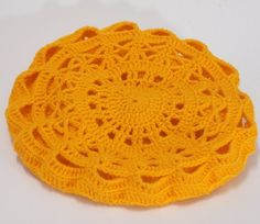 yellow lace feminine beret, crochet, elegant and unique hat for woman or teenager head circumference - diameter - wash at 30 degrees, dry flat Other colors or sizes on request, time to prepare for shipping - about 3 weeks. Handmade Market, Handmade Gifts, Knit Beanie Hat, Yellow Lace, Crochet Lace, Crochet Beret, Handmade Clothes, Hats For Women, Babyshower