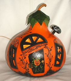 Light Up Halloween Gourd House Hand Painted