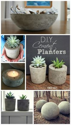 DIY Cement Planters #remodelaholic   could also use technique to make those cute lamps & then dip in paint.  LOVE this