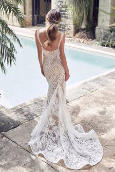 White V Neck Sequined Embroidering Tulle Mermaid Evening Dress – ModeShe.com #dresses #wedding Australian Wedding Dress Designers, Australian Wedding Dresses, Most Beautiful Wedding Dresses, Designer Wedding Dresses, Bridal Dresses, Wedding Gowns, Sequin Wedding, Modest Wedding, Tulle Wedding