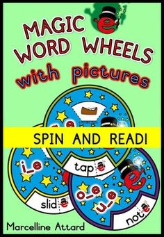 These magic e (cvce) wheels will surely motivate any child to read while having fun. Each word in the wheels is accompanied by a hidden picture found under the flap. #cvc+e #cvce #wordwheels #phonics #magice #silente #longvowels #reading #vocabulary #fun #pictures #literacycenters