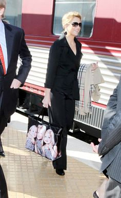 Mandy's Royalty:  then Crown Princess Maxima with a tote featuring her three daughters-Ariane, Amalia, and Alexia-arriving for Queen Margrethe of Denmark's 70th birthday celebrations, April 2010