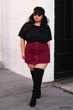 Plus Size Denim Mini Skirt