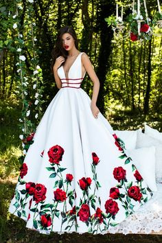 Tarik Ediz - 50275   Deep V-neck Floral Print Ballgown/ Long Prom Dress    (Taffeta gown, Sleeveless, Plunging neckline with sheer panel insert, Triple beaded waistband, Sheer sides, V-shaped back, Floral printed skirt)