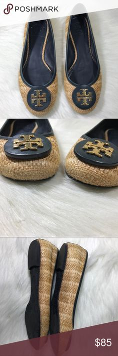 Tory Burch Reva Straw Leather Trim Logo Flats