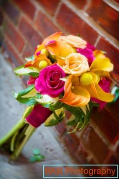 Orange Pink Yellow Bouquet Fall Summer Wedding Flowers Photos & Pictures - WeddingWire.com