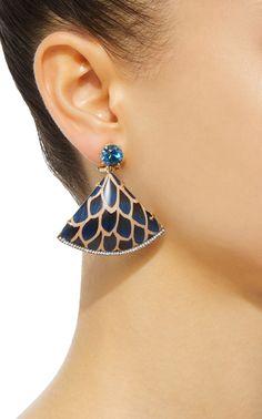 Blue Marquetry Scale Fan Drop Earrings by Silvia