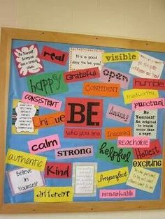 I love this idea for a Teacher Appreciation bulletin board display. Have each student/parent choose a positive word that describes their teacher display for a classroom or school bulletin. Classroom Design, Future Classroom, School Classroom, Classroom Organization, Classroom Management, Birthday Chart Classroom, Organizing, Beginning Of School, Sunday School