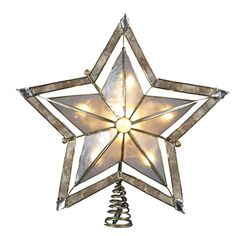 Kurt Adler 10 Light 10-Inch 5 Point Large Star with Smoke Capiz Treetop with 2-Inch Thick Gold Paint Finish * Additional details at the pin image, click it  : Garden Christmas Decorations