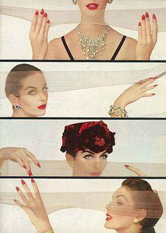 retro beauty, septemb vogu, vogu 1956, vogue fashion, nylon, karen radkai, vintage vogue, september, vintage flowers