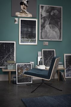 Shop the Bullet Lounge Chair and more contemporary furniture designs by Bolia at Haute Living. Dark Interiors, Colorful Interiors, Teal Walls, Green Walls, Green Sofa, Trending Paint Colors, Living Spaces, Living Room, Green Rooms
