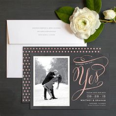 """She Said Yes Save The Date Cards by Elli - I'm still torn as to which will have the largest font size - the """"yes"""" or the actual date. But I still love this design! - Lan"""