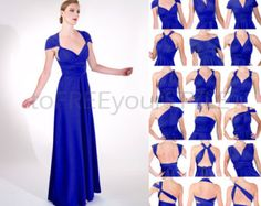 Long convertible dress in LIGHT NAVY blue shiny by toFREEyourSTYLE