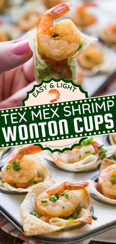Looking for the best Gameday food idea? Light Tex Mex Shrimp Cups are the perfect bite-size and crowd-pleasing appetizer recipe! Try this recipe as a tailgate food or homegating recipe perfect for… Seafood Dishes, Seafood Recipes, Appetizer Recipes, Shrimp Wonton, Wonton Cups, Light Appetizers, Tailgate Food, Game Day Food, Tex Mex