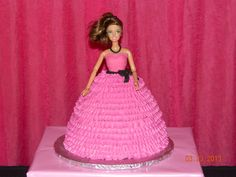 I had a cake like this at probably my or birthday. Mom put the candles around the skirt, and.Barbie's hair caught on fire! My dad had to beat the cake out with a dish towel! Ah, memories! Barbie Birthday Party, Barbie Party, 9th Birthday, Girl Birthday, Birthday Ideas, Birthday Parties, Fun Cakes, Cupcake Cakes, Barbie Cake