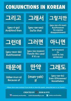 [ Korean Conjunctions - words to combine sentences ]