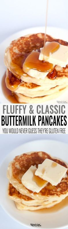 Gluten Free Buttermilk Pancakes. You will not believe that these fluffy buttermilk pancakes are gluten free. This classic breakfast recipe leaves your tummy's full and your home smelling amazing. | http://thebewitchinkitchen.com