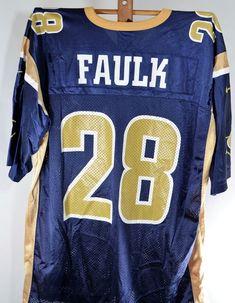 vintage nike st louis rams marshall faulk 28 football jersey xxl mens 2xl blue