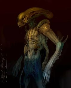 Giger was born and to honor his legacy, concept artist Carlos Huante has shared some of his own personal artwork he created as concepts for an. Predator Art, Alien Vs Predator, Dark Creatures, Alien Creatures, Giger Alien, Alien Alien, Saga Art, Mythological Monsters, Giger Art