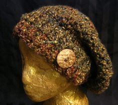 Check out Slouchy Beanie Hat in Woodsy Colours with Coconut Button Tab,Womens fashions,Crochet,Accessories, urban Boho Hipster,Winter Hat,Gift for her on suncreationsemporium