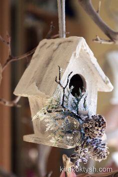 Christmas birdhouse in white 2012 by kirakoktysh.com