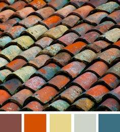 Old roman clay tiles in an aged colourful range of glazes.