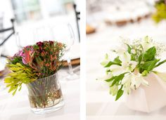 my wedding decor ... mixing vases on each table. Rustic style!