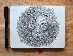 Através de pequenos desenhos, o artista faz grandes ilustrações super detalhadas que são compostas de várias outras pequenas ilustrações!