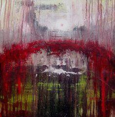Abstract red, schilderij van Ans Duin .. Kunst / Abstract / Modern / Schilderij